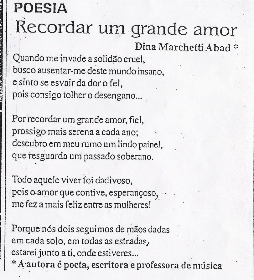 Profa. Dina Marchetti Abad escreveu esta bela poesia, o Jornal da ...
